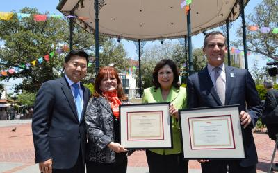 AARP State President Patricia Pérez (second from left:) welcomes Councilmember David Ryu (left), Los Angeles County Supervisor Hilda Solis (second from right) and Los Angeles Mayor Eric Garcetti (right) to AARP's Age-Friendly Network.