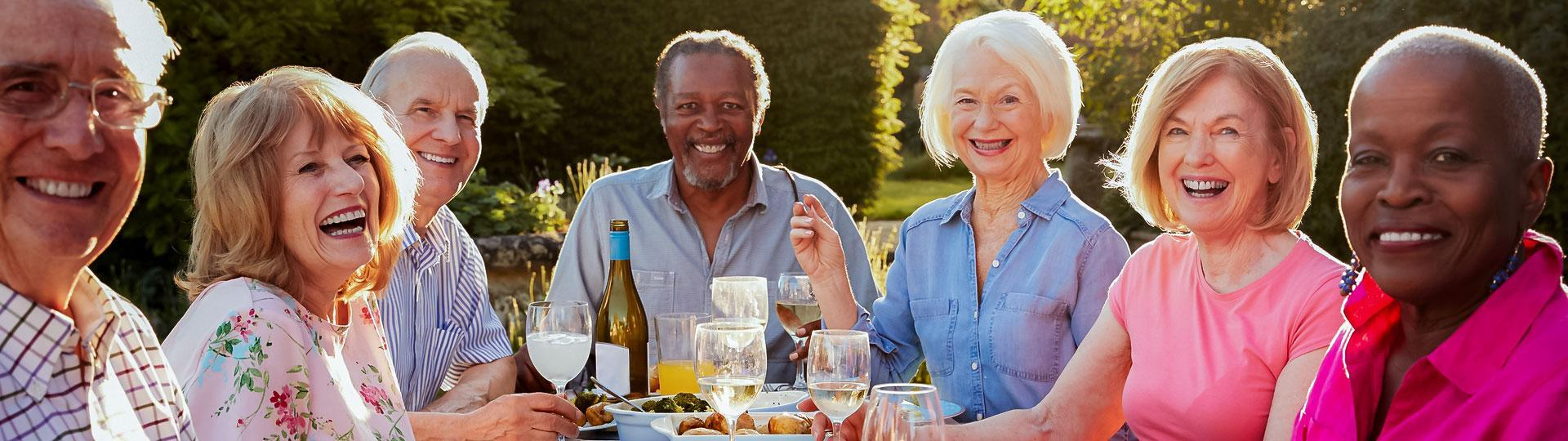 Image of senior friends enjoying brunch